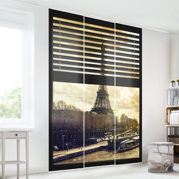 Immagine del prodotto Tende scorrevoli set -  Window View Blinds - Paris Eiffel Tower Sunset - 3 Pannelli