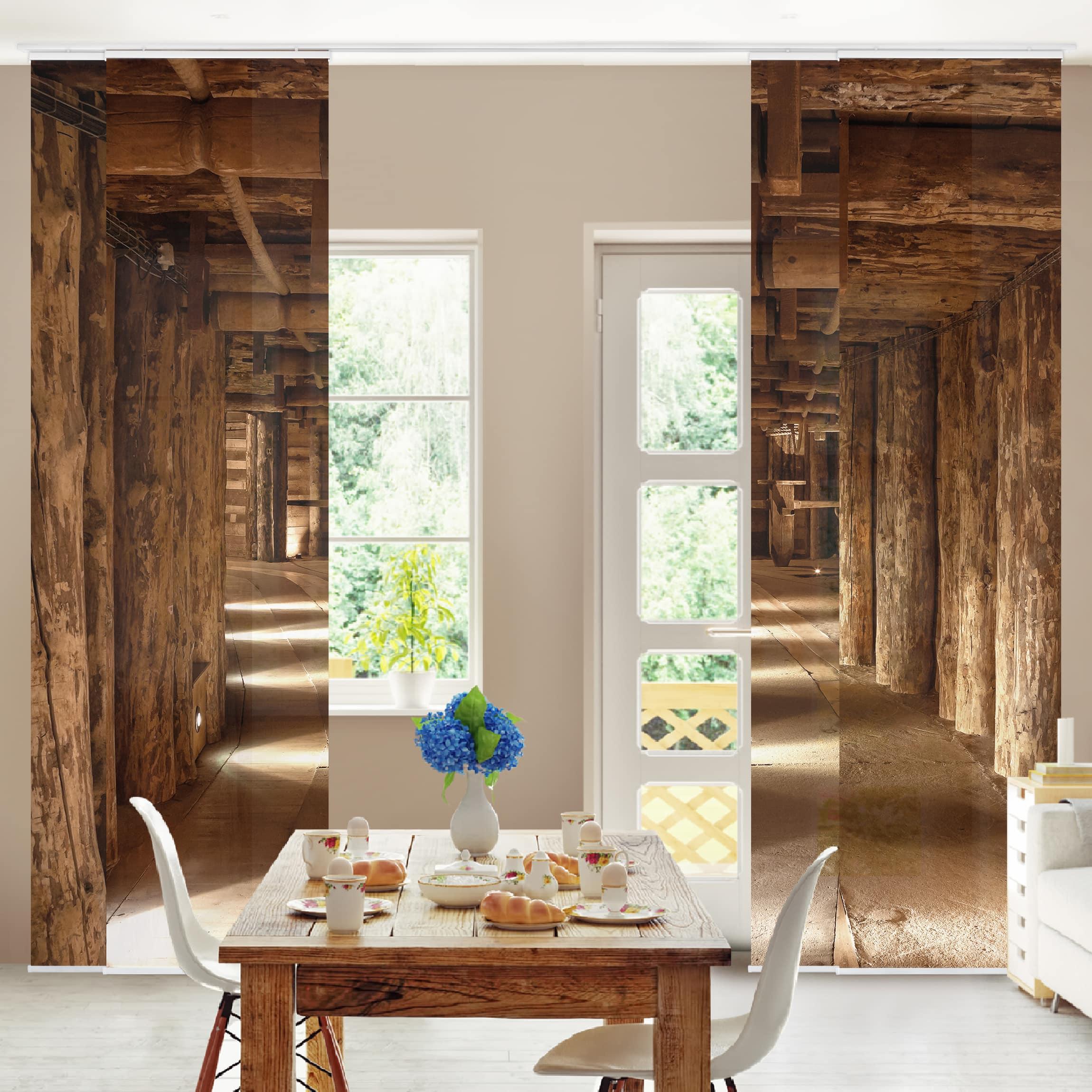 schiebegardinen set alte goldmine 4 fl chenvorh nge. Black Bedroom Furniture Sets. Home Design Ideas