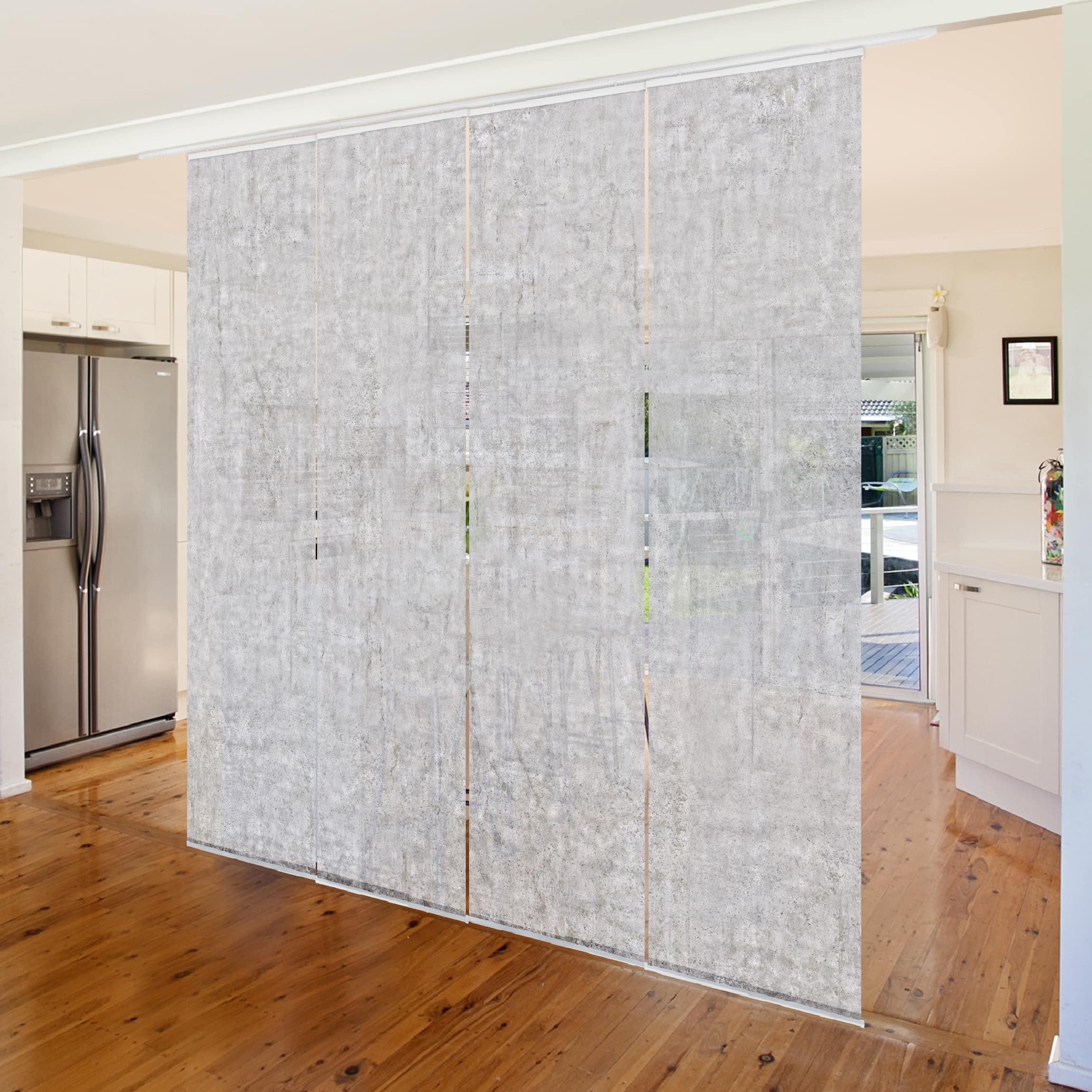 schiebegardinen set beton cir tapete 4 fl chenvorh nge. Black Bedroom Furniture Sets. Home Design Ideas