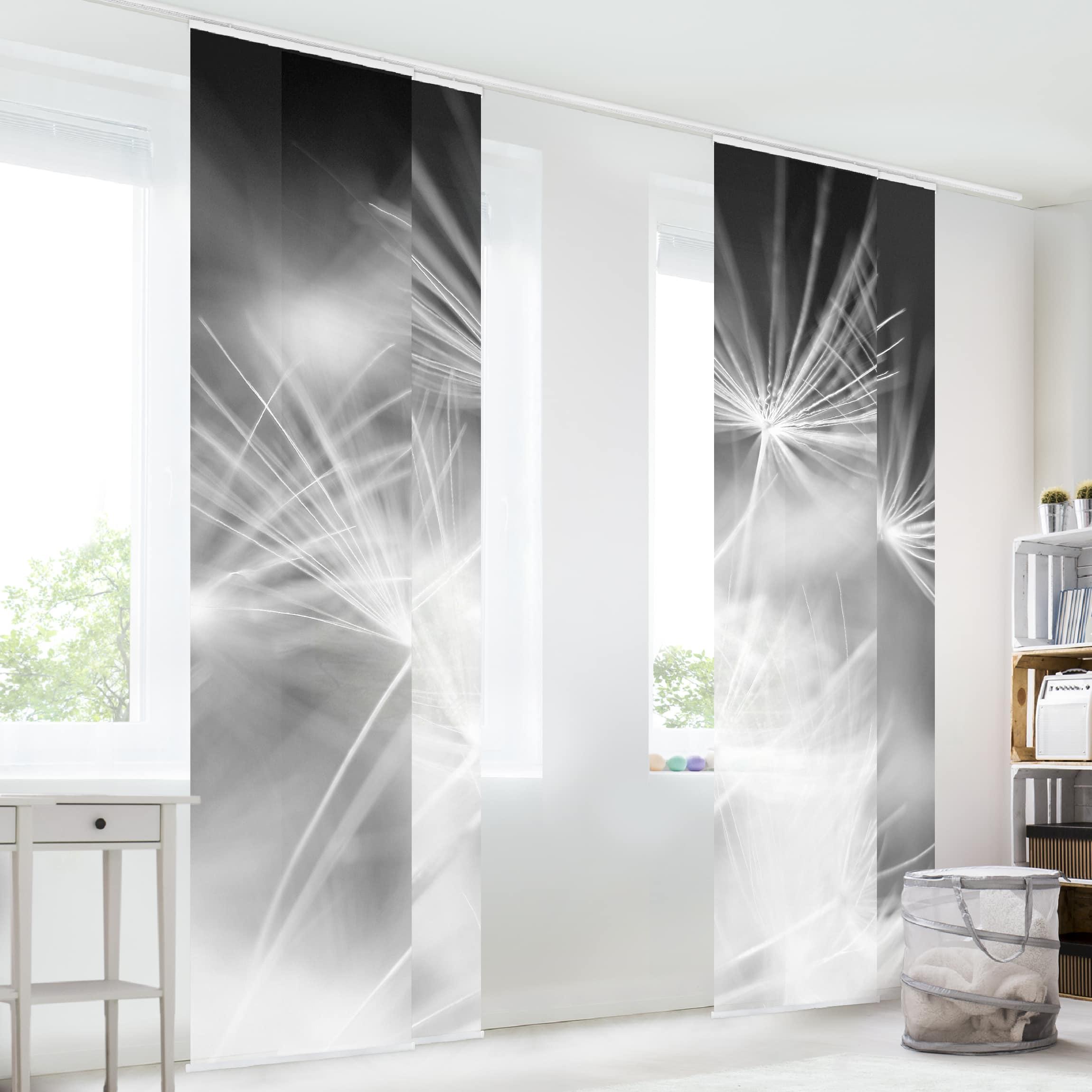 schiebegardinen set bewegte pusteblumen nahaufnahme auf. Black Bedroom Furniture Sets. Home Design Ideas