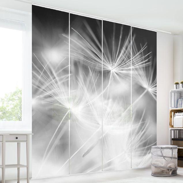 Produktfoto Schiebegardinen Set - Bewegte Pusteblumen Nahaufnahme auf schwarzem Hintergrund - 4 Flächenvorhänge
