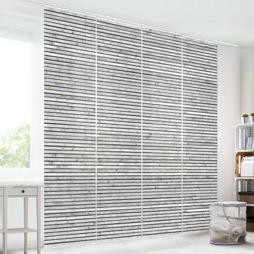 Produktfoto Schiebegardinen Set - Holzwand mit schmalen Leisten schwarz weiß - 4 Flächenvorhänge