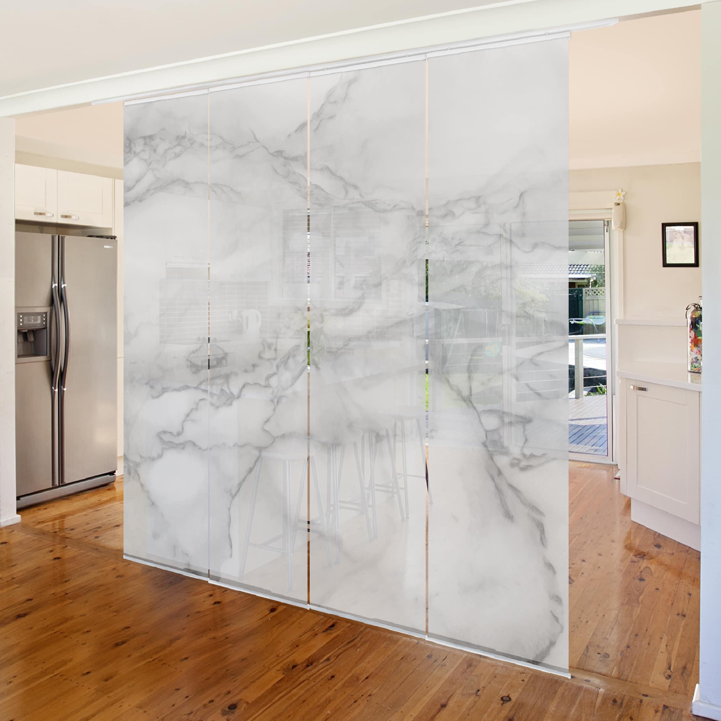 schiebegardinen set marmoroptik schwarz wei 4. Black Bedroom Furniture Sets. Home Design Ideas