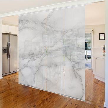Produktfoto Schiebegardinen Set - Marmoroptik Schwarz Weiß - 4 Flächenvorhänge