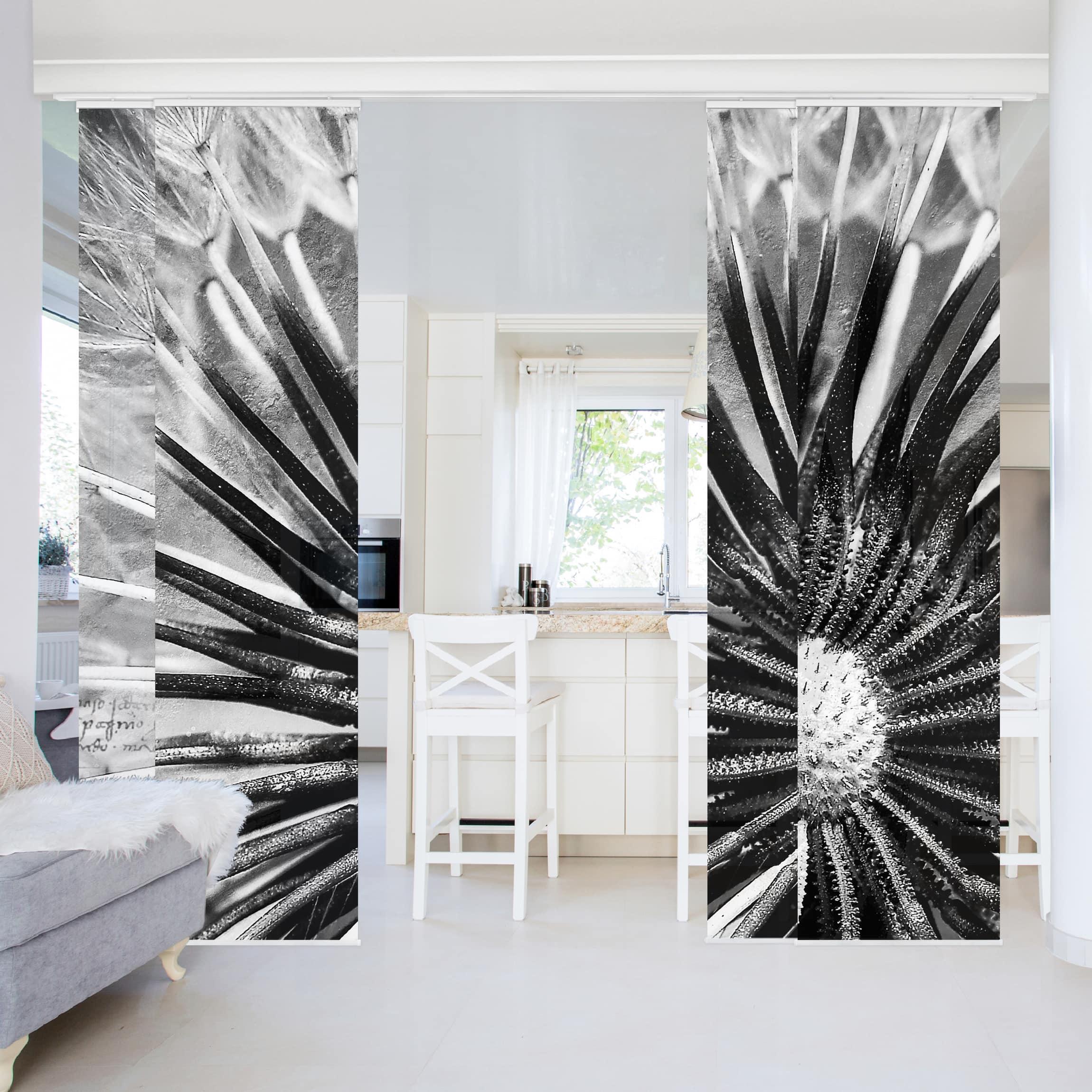 schiebegardinen set pusteblume schwarz wei 4. Black Bedroom Furniture Sets. Home Design Ideas