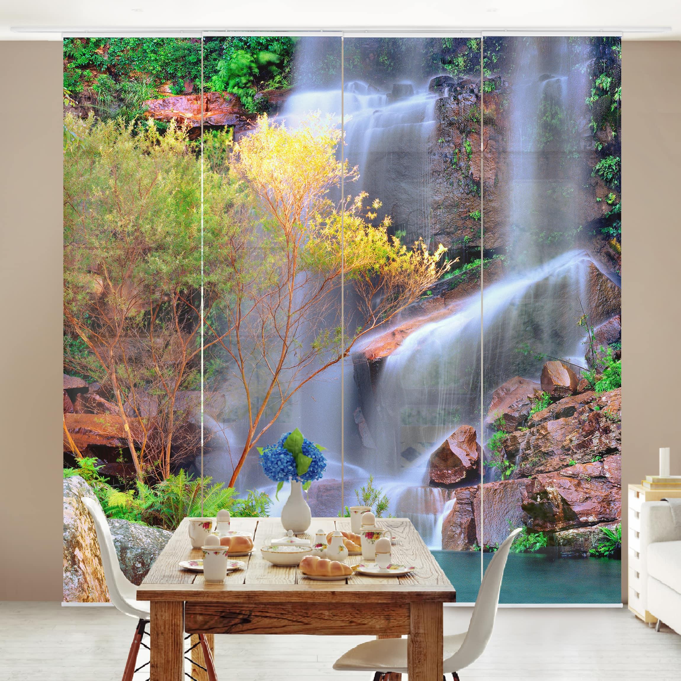 schiebegardinen set summer fairytale 4 fl chenvorh nge. Black Bedroom Furniture Sets. Home Design Ideas