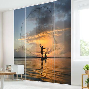 Produktfoto Schiebegardinen Set - Netz im Sonnenuntergang - 4 Flächenvorhänge