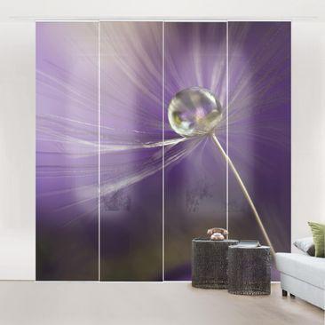 Produktfoto Schiebegardinen Set - Pusteblume in Violett - 4 Flächenvorhänge