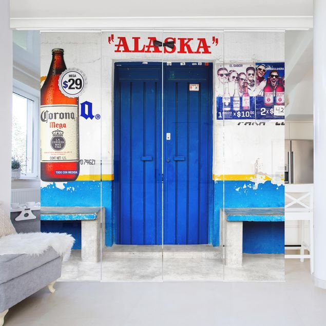 schiebegardinen set alaska blue bar 4 fl chenvorh nge. Black Bedroom Furniture Sets. Home Design Ideas