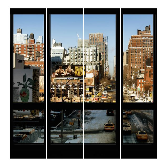 schiebegardinen set blick aus fenster auf stra e in new york 4 fl chenvorh nge. Black Bedroom Furniture Sets. Home Design Ideas