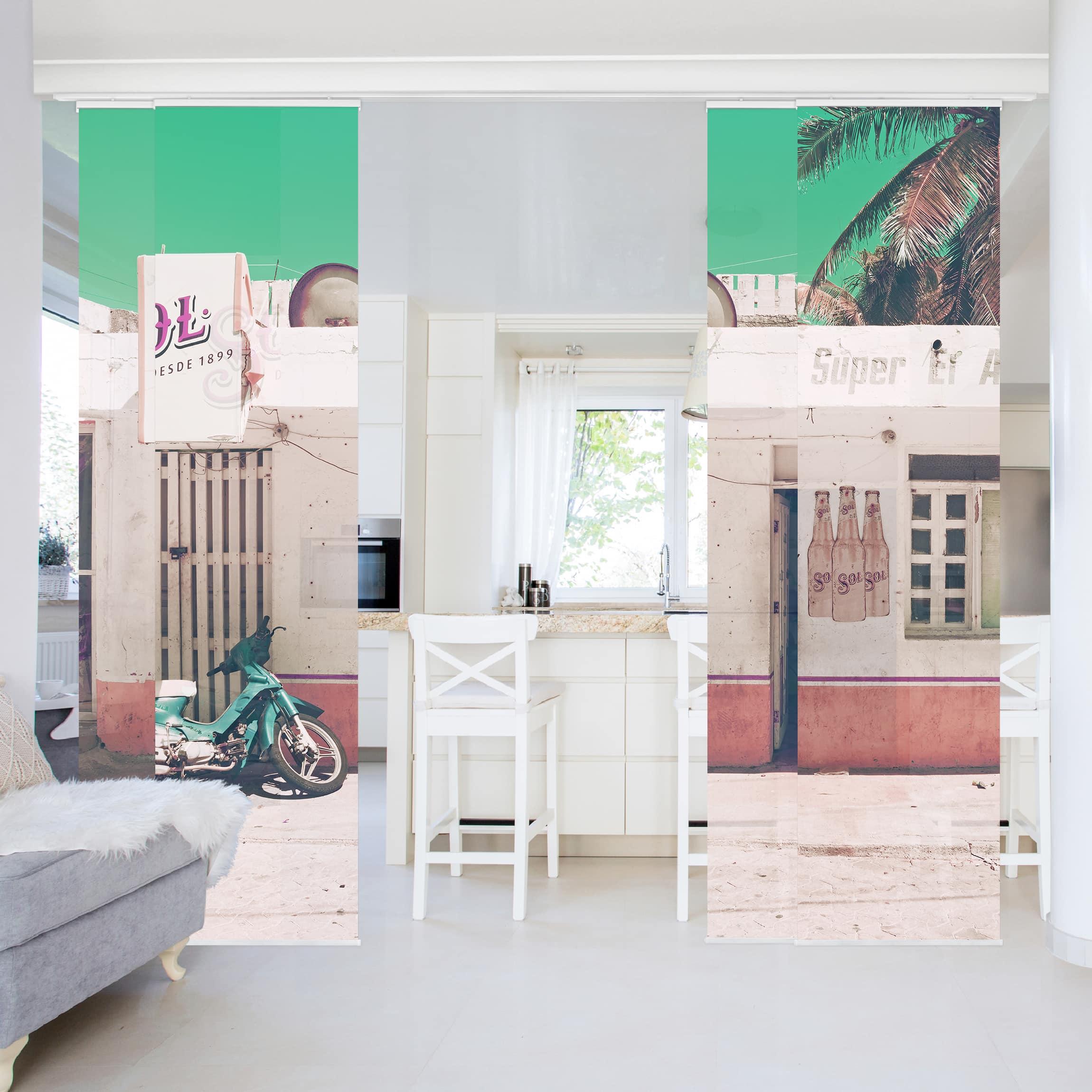 schiebegardinen set mini supermarkt vintage 4 fl chenvorh nge. Black Bedroom Furniture Sets. Home Design Ideas