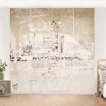 Immagine del prodotto Tende scorrevoli set - Old Concrete Wall With Bertolt Brecht Verses - 4 Pannelli