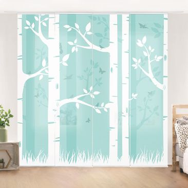 Immagine del prodotto Tende scorrevoli set - Green Birch Forest With Butterflies And Birds - 4 Pannelli