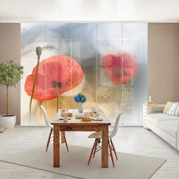 Produktfoto Schiebegardinen Set - Mohnblumen am Morgen - 5 Flächenvorhänge