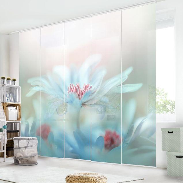 schiebegardinen set zarte bl ten in pastell 5 fl chenvorh nge. Black Bedroom Furniture Sets. Home Design Ideas