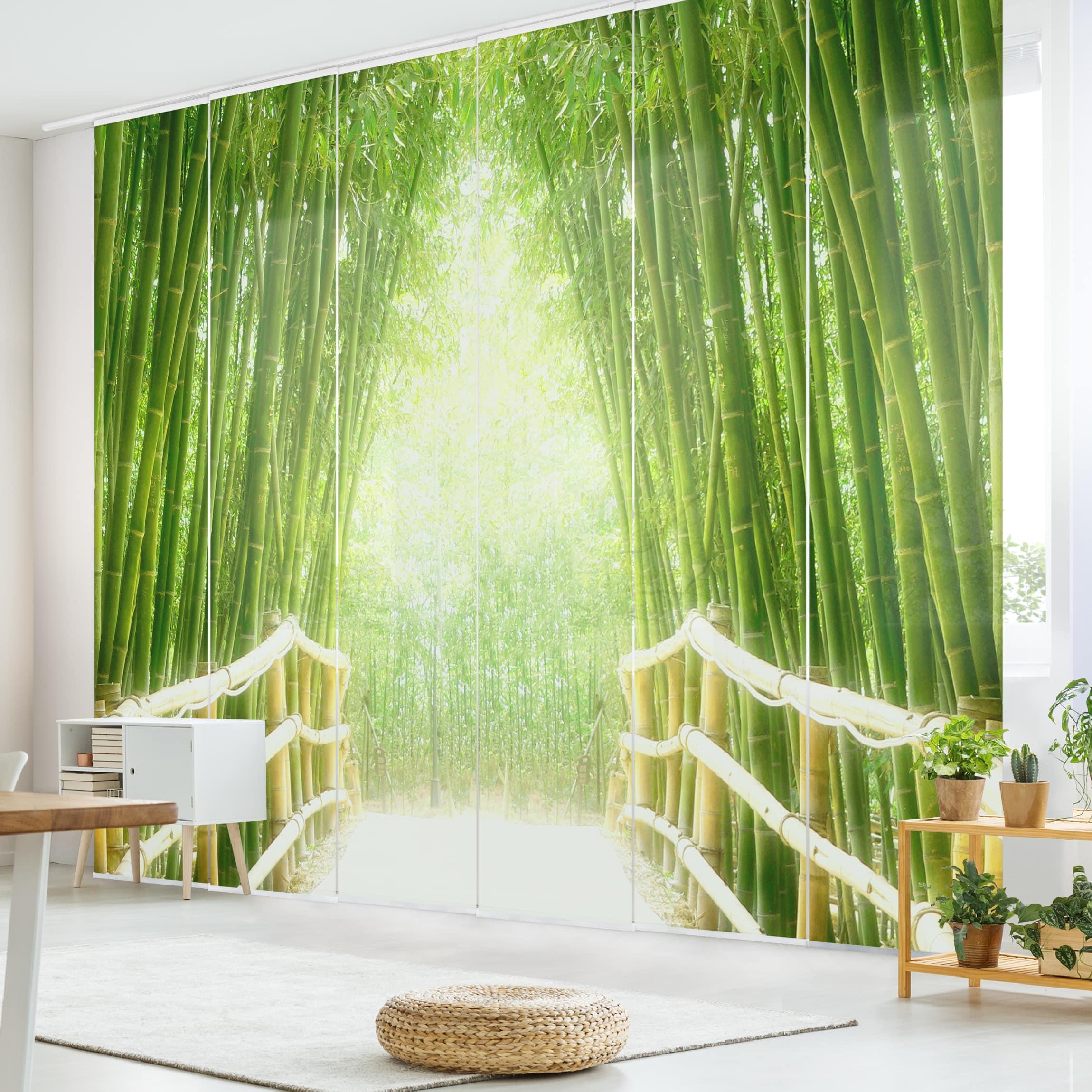 schiebegardinen set bamboo way 6 fl chenvorh nge. Black Bedroom Furniture Sets. Home Design Ideas