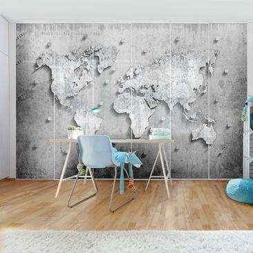 Produktfoto Schiebegardinen Set - Beton Weltkarte - 6 Flächenvorhänge