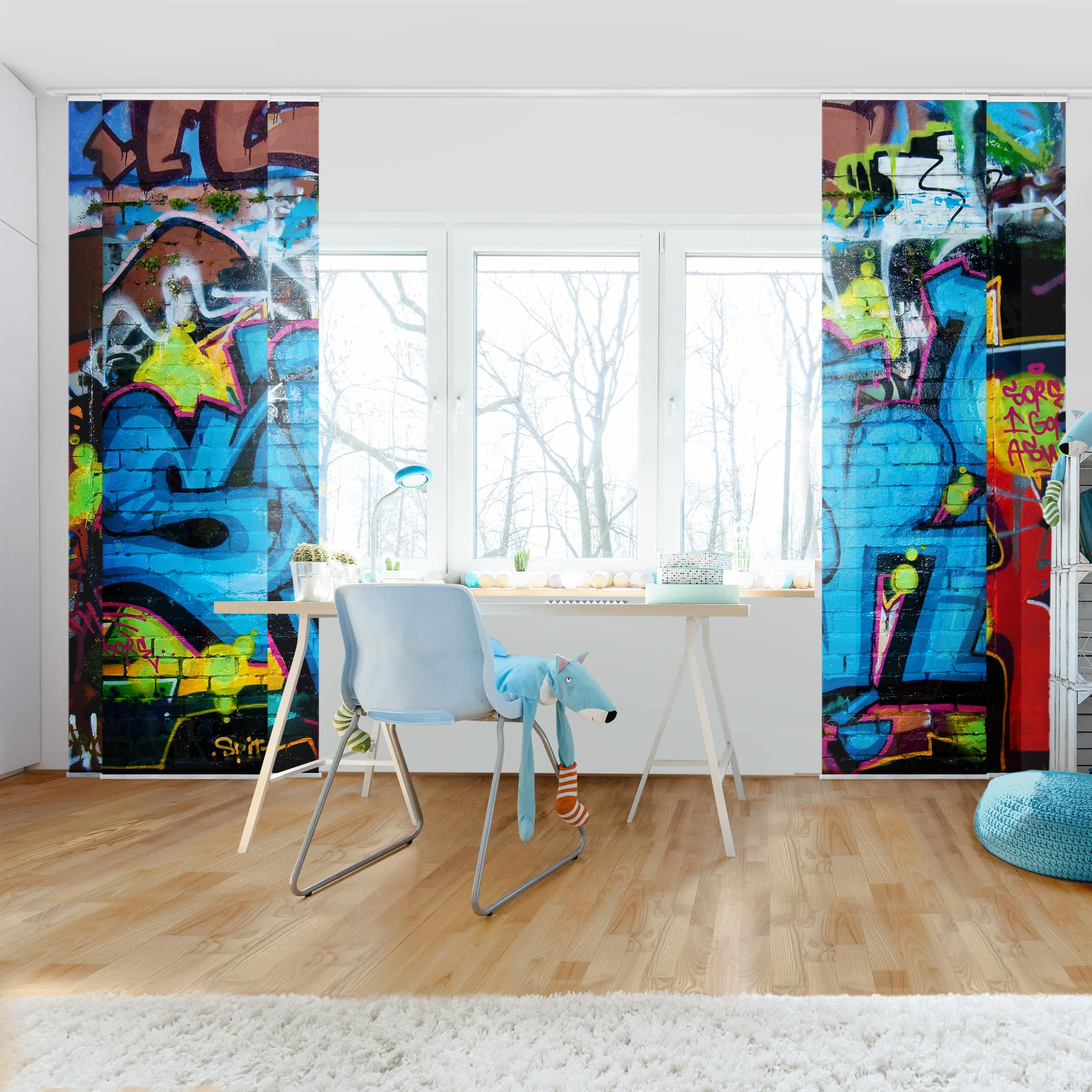schiebegardinen set colours of graffiti 6 fl chenvorh nge. Black Bedroom Furniture Sets. Home Design Ideas