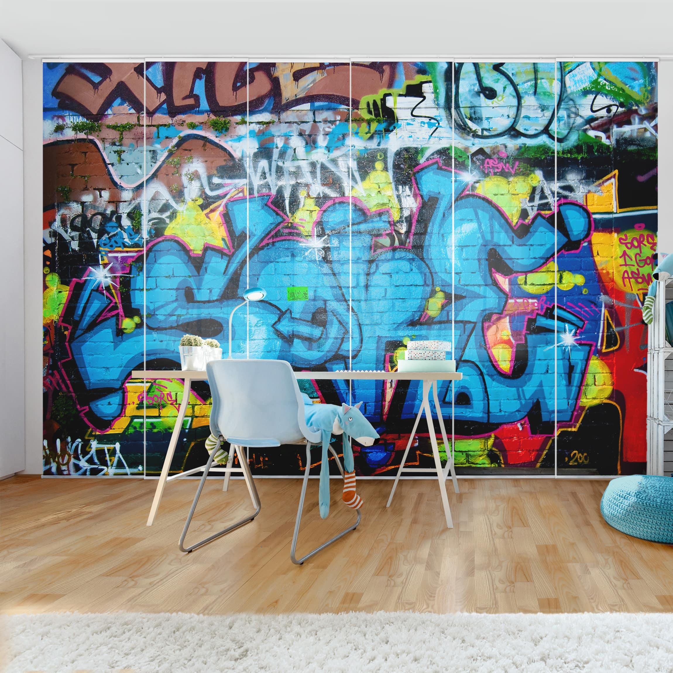 Produktfoto schiebegardinen set colours of graffiti 6 flächenvorhänge