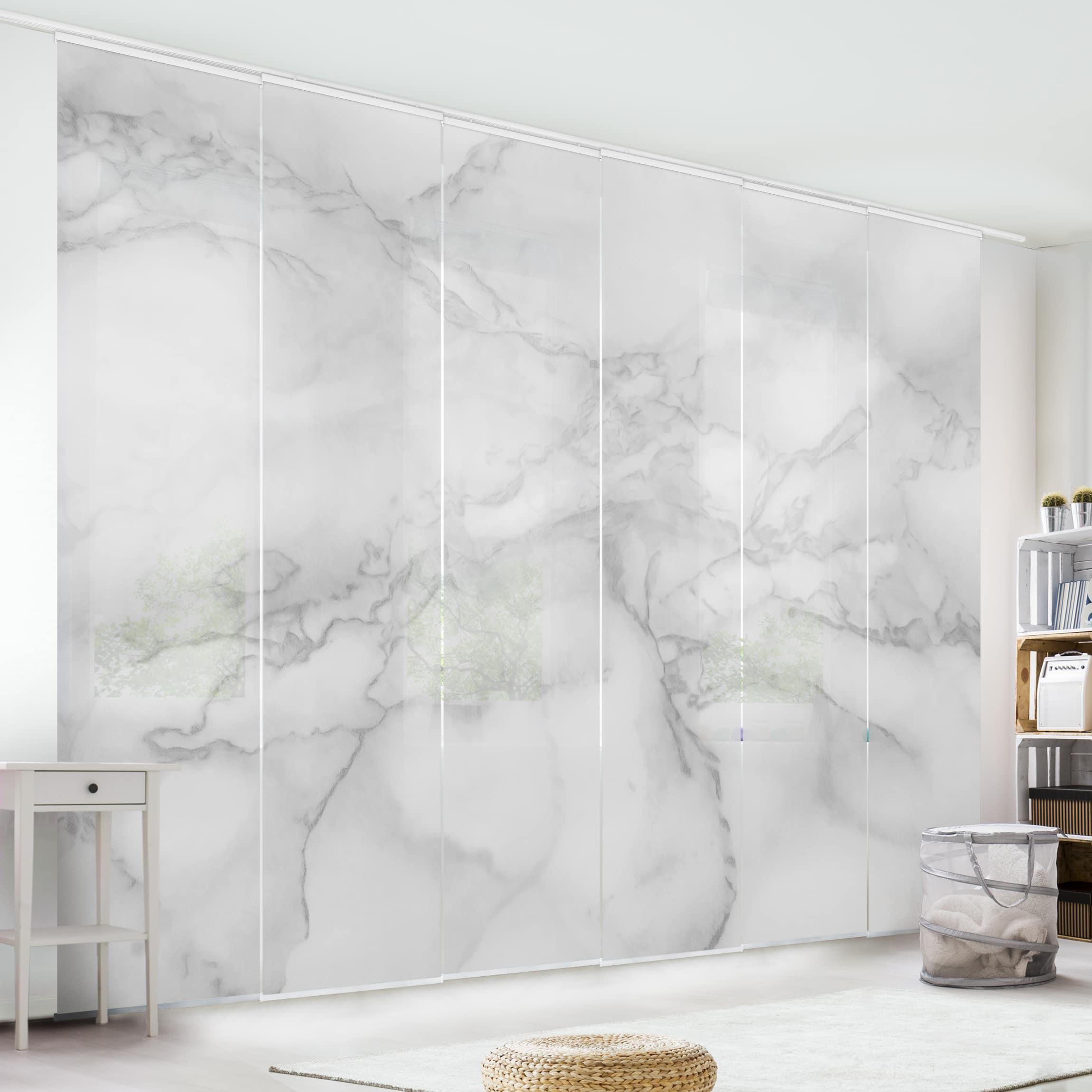 schiebegardinen set marmoroptik schwarz wei 6. Black Bedroom Furniture Sets. Home Design Ideas