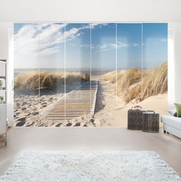 Product picture Sliding curtains set - Baltic Sea Beach...