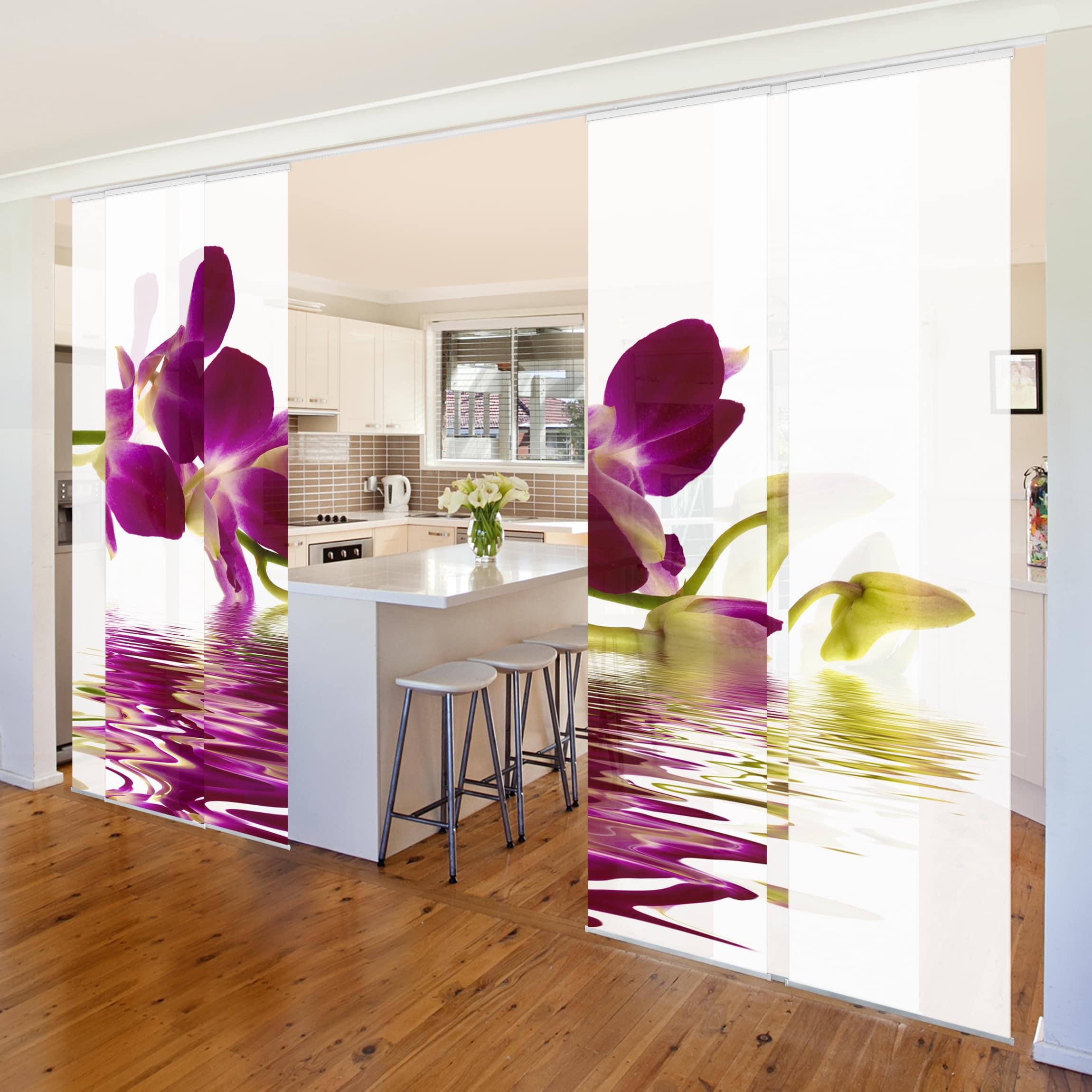 schiebegardinen set pink orchid waters 6 fl chenvorh nge. Black Bedroom Furniture Sets. Home Design Ideas