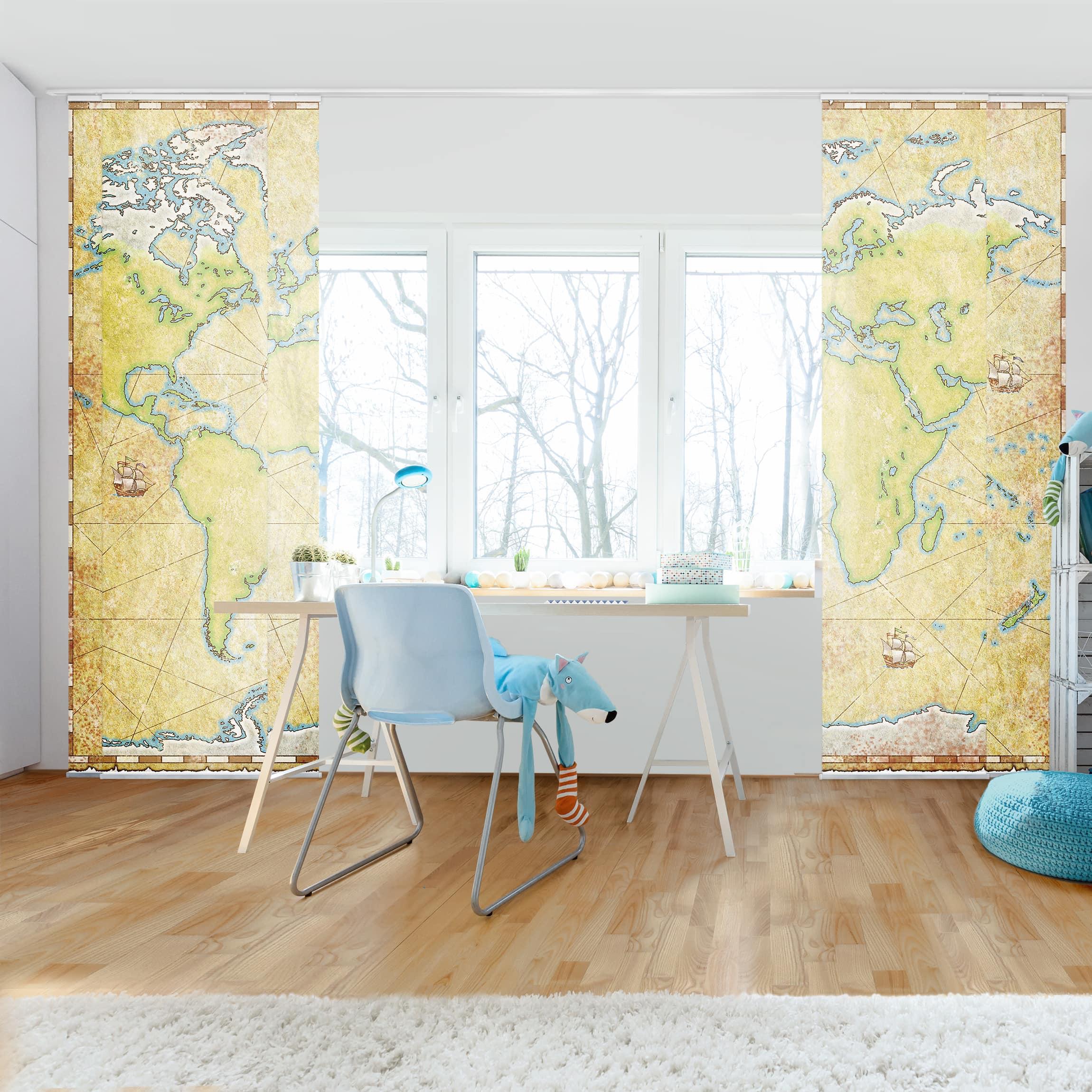 schiebegardinen set world map 6 fl chenvorh nge. Black Bedroom Furniture Sets. Home Design Ideas