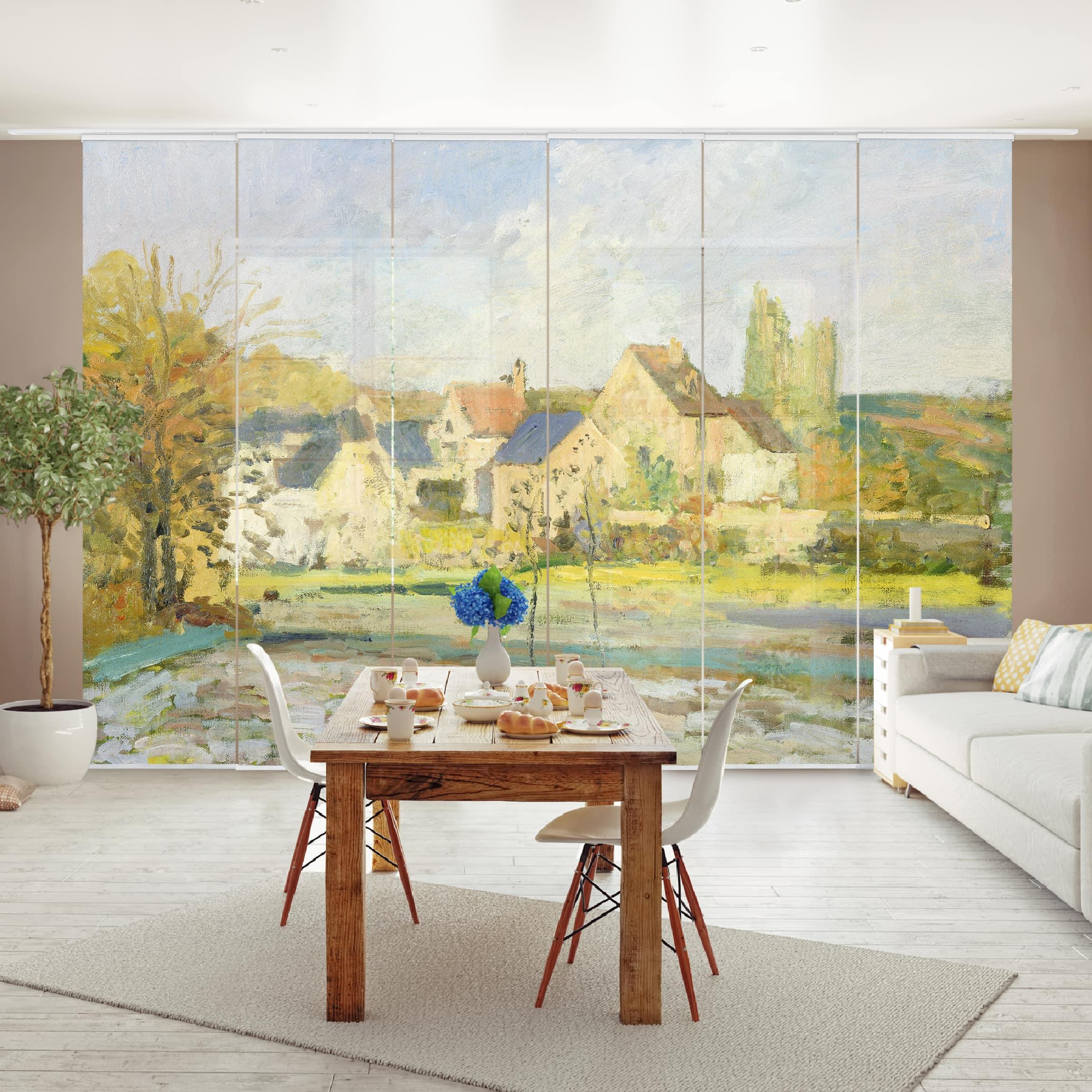 schiebegardinen set camille pissarro landschaft bei pontoise 6 fl chenvorh nge. Black Bedroom Furniture Sets. Home Design Ideas