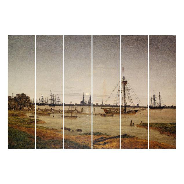 Produktfoto Schiebegardinen Set - Caspar David Friedrich - Hafen bei Mondschein - 6 Flächenvorhänge