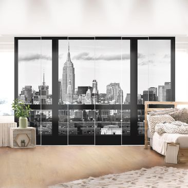 Immagine del prodotto Tende scorrevoli set - Windows View New York Skyline Black - 6 Pannelli