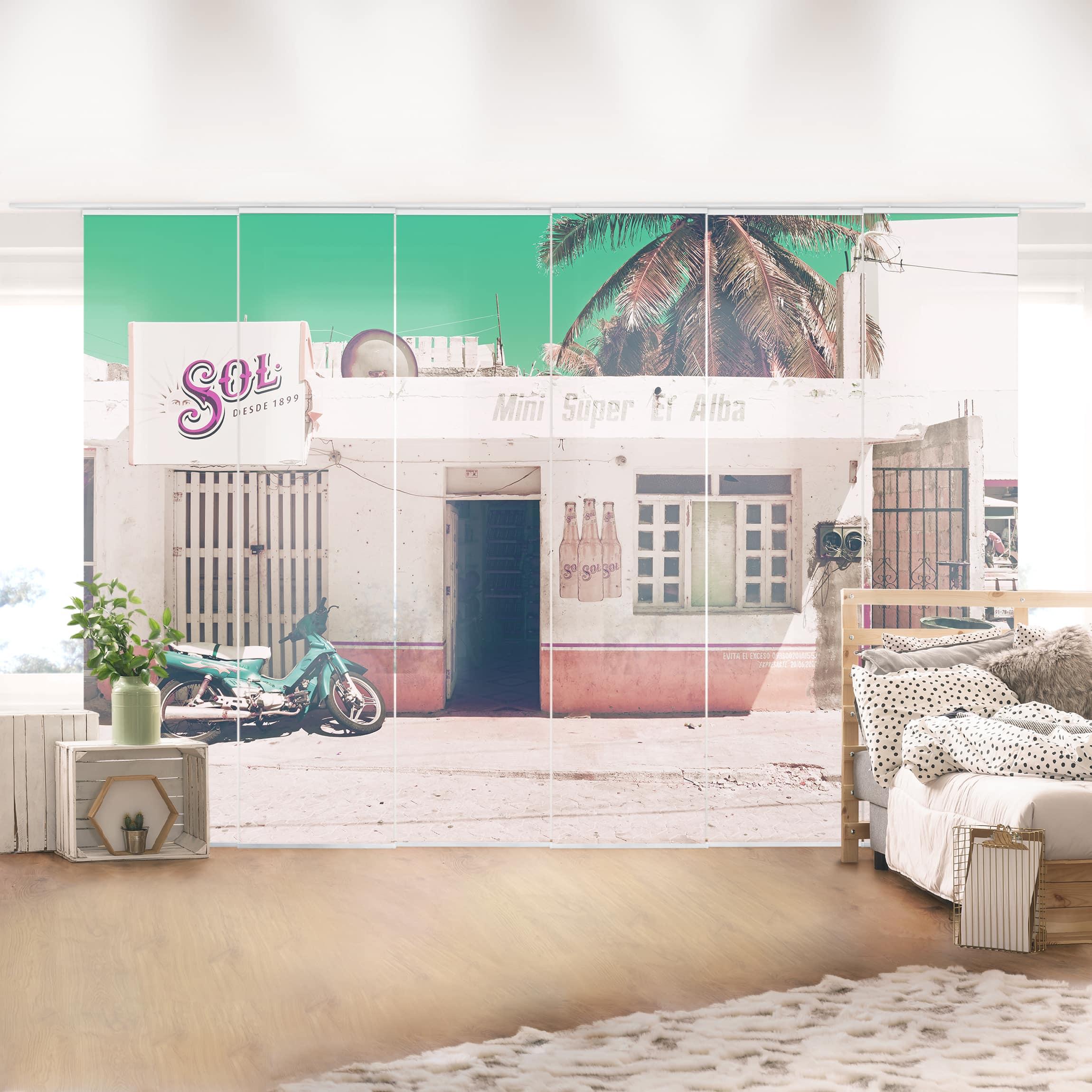schiebegardinen set mini supermarkt vintage 6 fl chenvorh nge. Black Bedroom Furniture Sets. Home Design Ideas