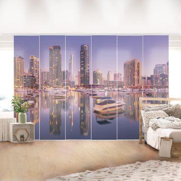 Produktfoto Schiebegardinen Set - Dubai Skyline und Marina - 6 Flächenvorhänge