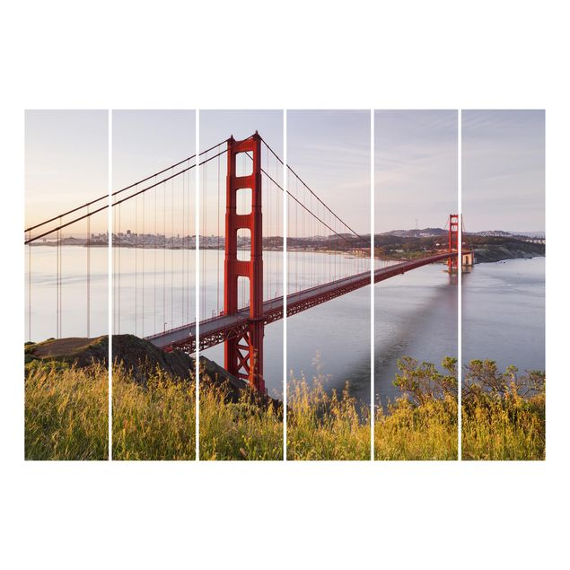 Produktfoto Schiebegardinen Set - Golden Gate Bridge in San Francisco - 6 Flächenvorhänge