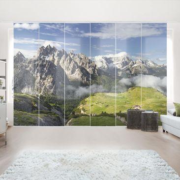 Produktfoto Schiebegardinen Set - Italienische Alpen - 6 Flächenvorhänge