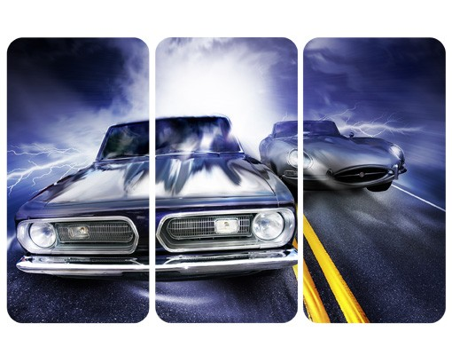 Produktfoto Selbstklebendes Wandbild Fast & Furious Triptychon
