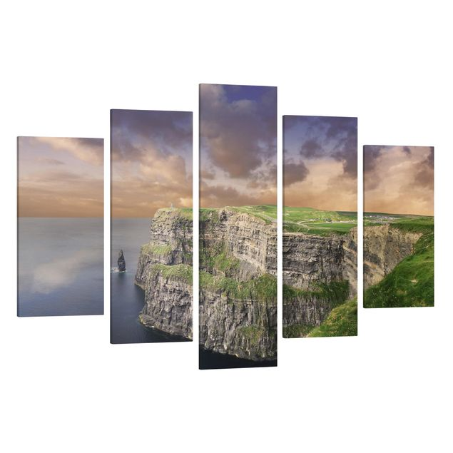 Produktfoto Leinwandbild 5-teilig - Cliffs Of Moher, Spiegelkantendruck links, Artikelnummer 216072-FL