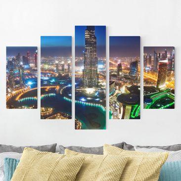 Produktfoto Leinwandbild 5-teilig - Dubai Marina, vergrößerte Ansicht in Wohnambiente, Artikelnummer 216075-XWA