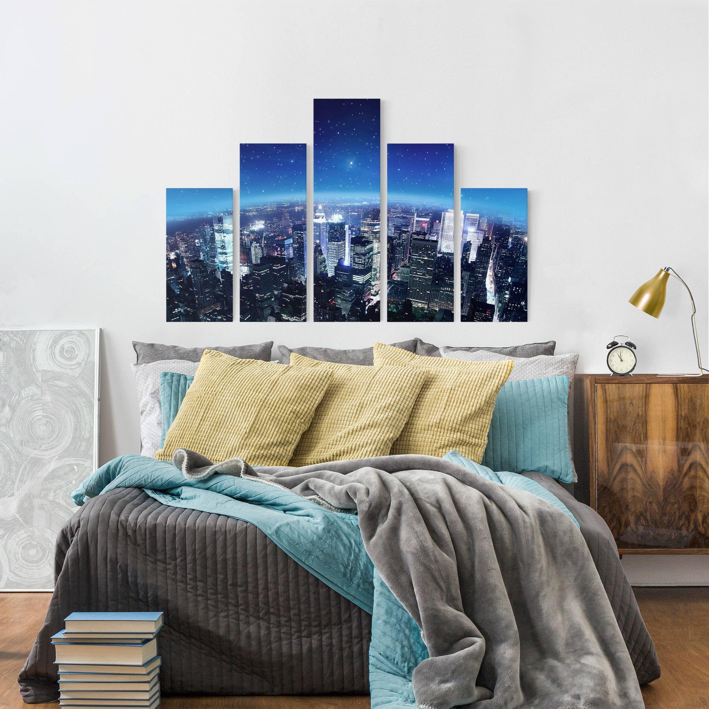 leinwandbild 5 teilig illuminated new york