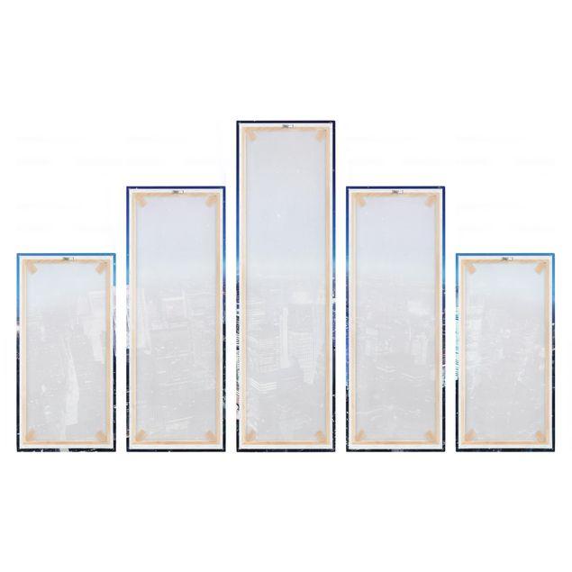 Produktfoto Leinwandbild 5-teilig - Illuminated New York, Spiegelkantendruck rechts, Artikelnummer 216082-FR