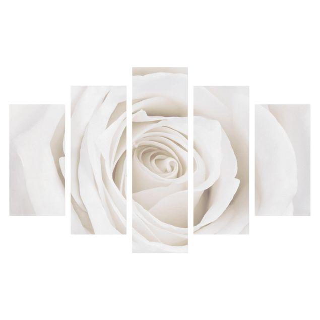 Produktfoto Leinwandbild 5-teilig - Pretty White Rose, Frontalansicht, Artikelnummer 216092-FF