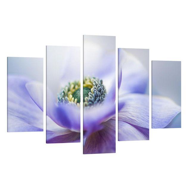 Produktfoto Leinwandbild 5-teilig - Anemone De Caen, Spiegelkantendruck links, Artikelnummer 216108-FL