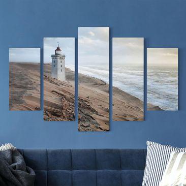 Produktfoto Leinwandbild 5-teilig - Leuchtturm in Dänemark, vergrößerte Ansicht in Wohnambiente, Artikelnummer 216114-XWA