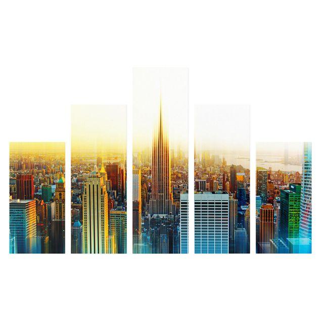 Produktfoto Leinwandbild 5-teilig - Manhattan Abstrakt, Frontalansicht, Artikelnummer 216117-FF