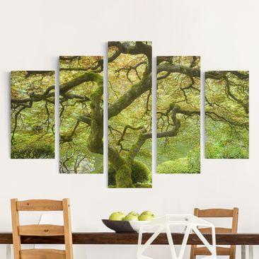 Produktfoto Leinwandbild 5-teilig - Grüner Japanischer Garten, vergrößerte Ansicht in Wohnambiente, Artikelnummer 216121-XWA