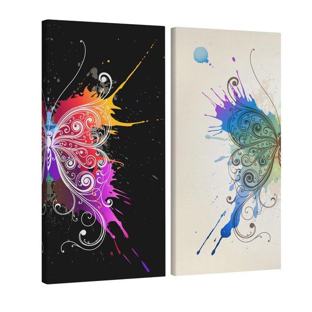 Produktfoto Leinwandbild 2-teilig - Aquarell Kontrast - Hoch 2:1, Spiegelkantendruck links, Artikelnummer 216192-FL