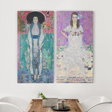 Produktfoto Leinwandbild 2-teilig - Gustav Klimt - Adele Bloch-Bauer und Mäda Primavesi - Hoch 2:1, vergrößerte Ansicht in Wohnambiente, Artikelnummer 216206-XWA