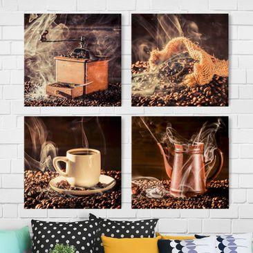 Produktfoto Leinwandbild 4-teilig - Kaffee - Dampf, vergrößerte Ansicht in Wohnambiente, Artikelnummer 216243-XWA