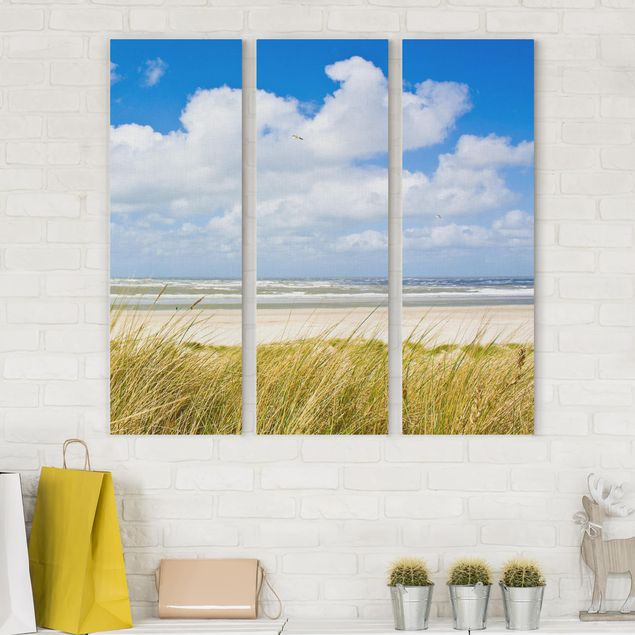 Produktfoto Leinwandbild 3-teilig - An der Nordseeküste - Panoramen hoch 3:1, vergrößerte Ansicht in Wohnambiente, Artikelnummer 216287-XWA