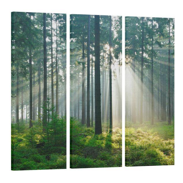 Produktfoto Leinwandbild 3-teilig - Enlightened Forest - Panoramen hoch 3:1, Spiegelkantendruck links, Artikelnummer 216293-FL