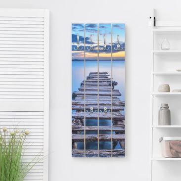 Produktfoto Wandgarderobe Holz - Steg ins ruhige Meer - Haken chrom - Hoch